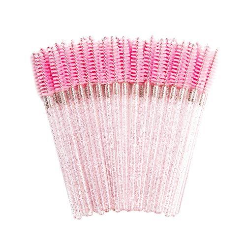 Bonne Qualité Jetable 200 Pcs/Pack Cristal Cils Maquillage Brosse Diamant Poignée Mascara Baguettes Cils Extension Outil-Rose