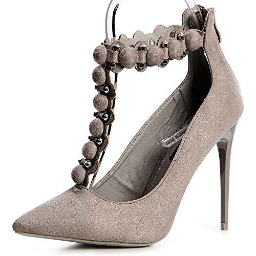 topschuhe24 1219 Spitze Damen Pumps Riemchen Nieten T-Stripe, Farbe:Grau, Größe:36 EU
