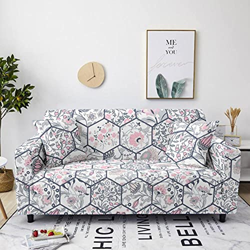 Sofa Cover Stretch Elastic Gray pink plaid Printed Sofa Slipcover 4 Seater Polyester Spandex Furniture Decorative Soft Loveseat Couch Covers Chair Protector for Pets Kids Sofa Covers