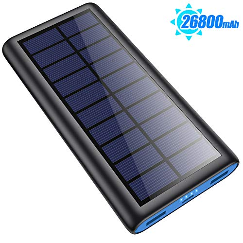 Solar Portable Charger 26800mAh, 【2020 Phone Charger】 Power Bank External Backup Battery Pack with 2 Outputs Huge Capacity Backup Battery Compatible Smartphone,Tablet and More