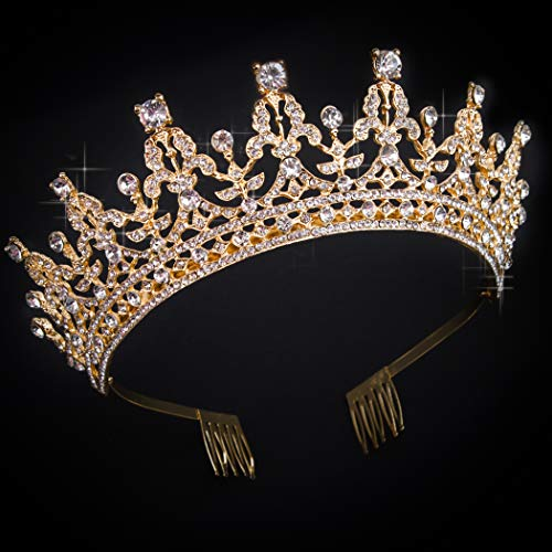 COCIDE Gold Tiara and Crown for Women Birthday Headband for Girls Crystal Queen Crown Hair Accessories for Bride Party Bridesmaids Bridal Prom Halloween Costume Cosplay Christmas Gifts (DARK GOLD)