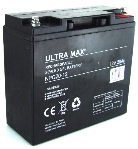 UltraMax npg20–12, de batería de Gel 12V 20AH horas (como 17Ah, 18Ah,...