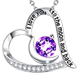 christmas natural amethyst necklace for wife birthday gifts women i love you to the moon and back