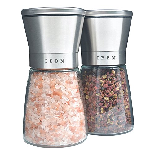 Best Salt and Pepper Grinder Set - Premium Brushed Stainless Steel - Easy to Refill and Adjustable Coarseness - Elegant Spice Mill Pair - Kitchen to Table Use - Modern Design Shakers(Set of 2) by IBBM