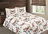 Flowers Floral Steer Skull Skeleton Quilt Rustic Western Bedspread Comforter Bedding - 3 Piece Set (Off-White, Oversized Queen)