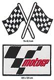Parches de la bandera de carreras de Moto GP, juego de 2 unidades, para moto, motorista, carreras