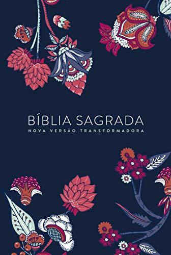 BIBLIA NVT LN INDIAN FLOWERS AZUL MARINHO