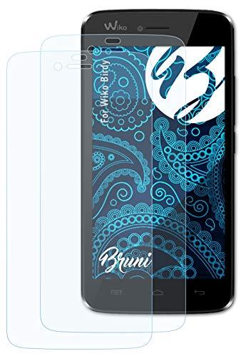 Bruni Schutzfolie kompatibel mit Wiko Birdy Folie, glasklare Bildschirmschutzfolie (2X)