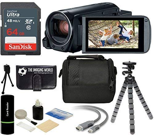 The Imaging World R800 Canon VIXIA HF R800 57x Zoom Full HD 1080p Video Camcorder (Black) + 64GB Card + Case + Tripod + Digital Camera Cleaning Kit - Complete Accessories Bundle.
