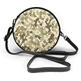 Hombro de la PU cubierta de césped Ronda bolsa Camo pasada de moda patrón de camuflaje clásico Supervivencia en la selva temático Ejército crema pálido Cross Body Bag
