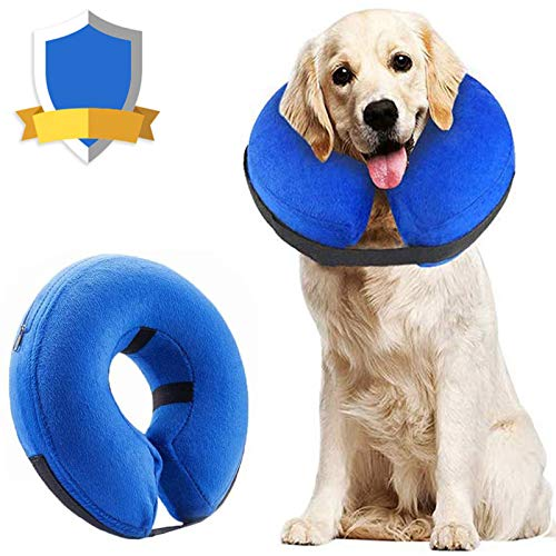 Supet Dog Cones After Surgery, Protective Inflatable Dog Collar Pet Recovery Collar Soft Pet Cone for Small Medium or Large Dogs and Cats Anti-Bite...