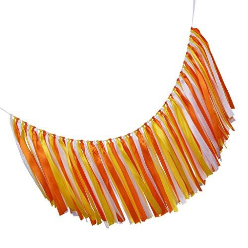 Homyl Wedding Satin Ribbon Bunting Banner Tassel Garland Wedding Decor - orange, as described