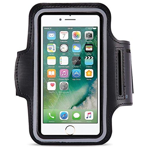Schutzhülle kompatibel für Apple iPhone 8 Plus Jogging Tasche Handy Hülle Sportarmband Fitnesstasche Lauf, Farben:Schwarz