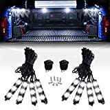 Nilight 8PCS 24LED Rock Light for Cargo Truck Pickup Bed Off Road Under Car Side Marker LED Rock Lighting Kit w/Switch White, 2 Years Warranty