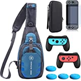 YB-OSANA 5 in 1 Game Console Crossbody Travel Bag Case +Hard Case Bag + Switch Screen Protector +2-Pack Joycon Controller Handle Grips + Switch Joycon Thumb Grips For Nintendo Switch Travel Accessory