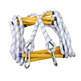 JaeMoose Emergency Fire Escape Rope Ladder Flame Resistant Safety Evacuation Ladder with 2 Hooks Fast to Deploy Sturdy and Strong Portable and Reusable 2 Story 16 FT (16 FT)