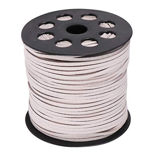 KESYOO 1 Rolo 2. 6Mm Cordões de Couro Sintético Camurça Cord Diy Jóias de Tricô Rendas Beading Corda Corda para Pulseiras Colar (Prata)