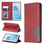Careynoce Huawei Honor 7A Coque,Couleur unie Rhombe Pattern Construit en Magnétique Conception Flip...