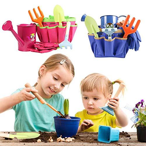 Gartengeräte-Set für Kinder, Kindergarten-Set mit Tasche, Schaufel, Rechen, Gabel, Spray, Handschuhe für kleine Gärtnerjungen Mädchen