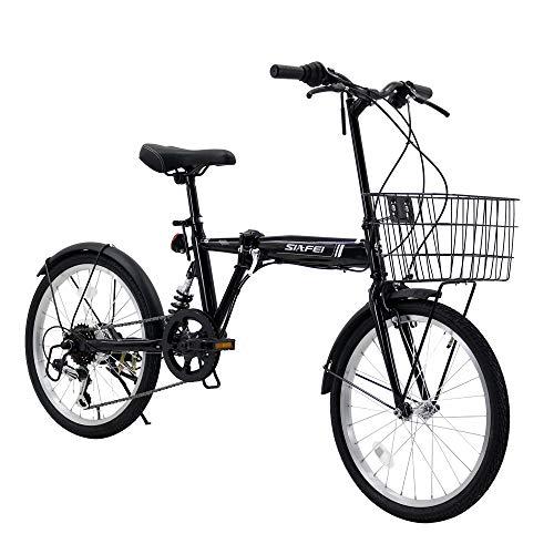 LUCK store 折りたたみ自転車 折り畳み自転車 20インチ シマノ6段変速 サスペンション付き 小径車 ワイヤ錠・LEDライトのプレゼント付き 前後泥除け装備 自転車 ハンドルの高さ調節できる ブラック