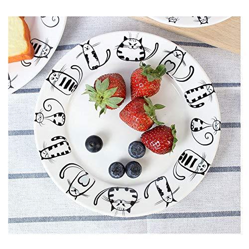 Gato super lindo Plato de cerámica Plato de cena postre aperitivo ensalada filete servicio para fiesta Cocina Boda de cumpleaños Catering Meow Porcelana de 7 pulgadas (2 piezas)