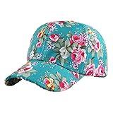Litetao Baseball Cap Womens Girls Cute Floral Print Snapback Adjustable Hip Hop Hat (Free Size, Green)
