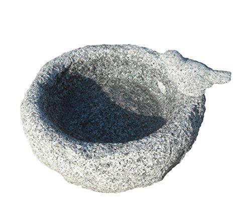 Dehner Vogeltränke mit Vogel, ca. 28.5 x 23.5 x 15 cm, Granit, Grau