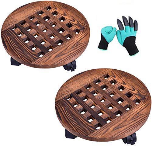 LEFOR·Z 2 Stck Pflanzenroller Holz Rollbrett für Pflanzen,25cm Topfpflanzenständer mit 360 ° Rädern,runder Blumenroller für Außenbereich + Innenbereich