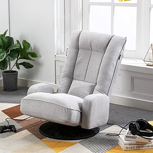 Artechworks Linen Folding Sofa Chair with Arms,360° Swivel Floor Gaming Lazy Sofa Chair 6-Position Adjustable Recliner Lounge Armchair for Adults Reading,TV,Living Room,Bedroom,Office,Grey