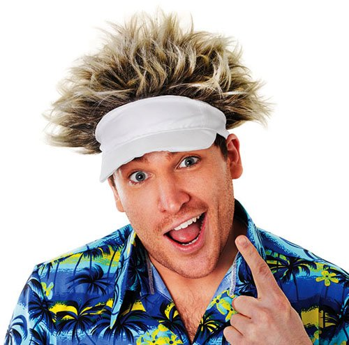 Ian Poulter Hat & Wig Pub Golf Visor & Hair Ryder Cup Tournament Fancy Dress by Home & Leisure Online