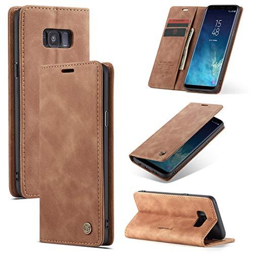 SZCINSEN Funda tipo cartera para Samsung Galaxy S8 Plus de piel sintética premium, 2 en 1, funda tipo cartera magnética, piel suave mate + carcasa inferior de TPU con ranura para tarjeta (color café)