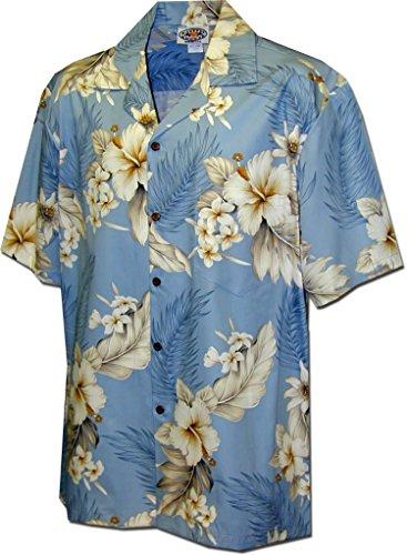 Pacific Legend Plumeria Hibiscus-Hawaiian Shirts-AMAZON3162BLUEM