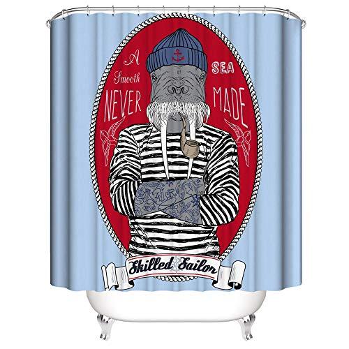 Duschvorhang Anti-Schimmel Wasserdicht Polyestergewebe Antibakteriell Vorhang für Dusche und Badewanne, 3D Lustige Tiere Muster,mit 12 Haken, Duschvorhang Waschbar 180x200 cm