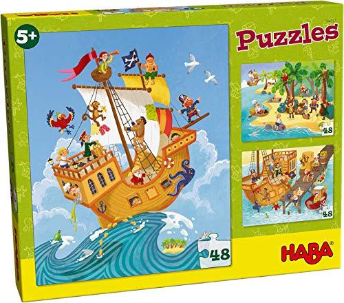 HABA 304222 - Puzzles Pirat & Co., 3 Puzzles zu je 48 Teilen mit Piratenschiff und Seeräubern, Puzzlespaß für Kinder ab 5 Jahren