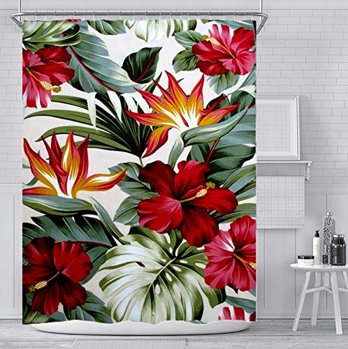 Denifeiya Tropical Leaves Plant Shower Curtain Set with 12 Hooks,Waterproof Red Flower Green Palm Bath Curtain Modern Bathroom Accessories,Multi-Color Flowers and Green Leaves,72x72 Inch,Red Flowers
