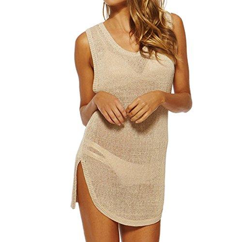 West See Damen Strick Bikini Cover up Weste Durchsichtig Ärmellos T-Shirt Beach Wear Kleid Strandurlaub Kleid Lace Bikini Dress Sommer