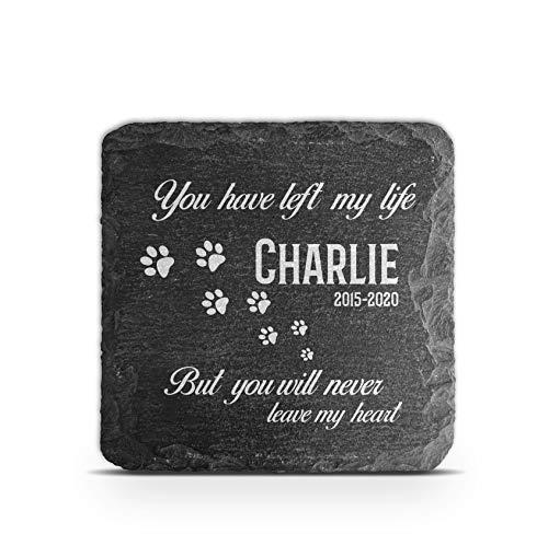 TULLUN Placa conmemorativa personalizada para mascota gato perro pizarra marco de piedra pata sepultura marcador – Tamaño 100 x 100 mm – You have left my life…
