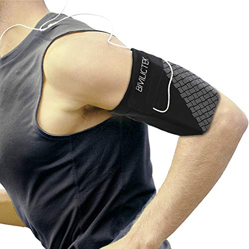 Bivilictek Cell Phone Running Armband - Running Sleeve with MP3 Key Holder for iPhone X/XS/XR/Max/Plus & Samsung Galaxy S10/ S9/ Plus (Black Small)