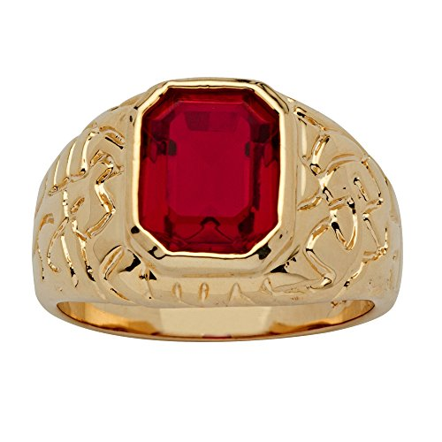 Palm Beach Jewelry Men's 14K Yellow Gold Plated Emerald Cut Simulated Red Ruby Nugget Style Ring Size 10