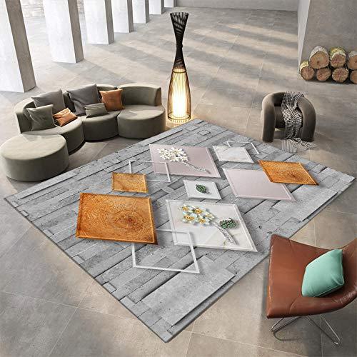 DYEWD Alfombra de área antideslizante, alfombras domésticas, alfombrillas de dormitorio, alfombras geométricas, alfombras de gran área en la sala de estar-Iqx-11_120*160Cm