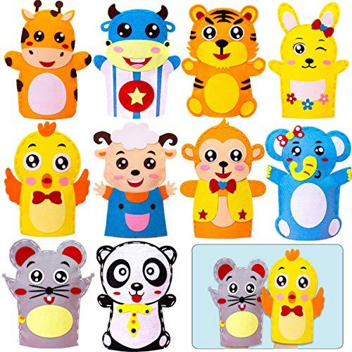 10PCS Kits de Costura para Niños,Actividades Creativas Kits de No Tejido Tela Artesanal Bricolaje Set de Costura Marionetas de Mano