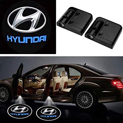 LED Courtesy Step Lights Ground Lamp Kit Replacement for Car Door Decor(2Pcs), Welcome Car Logo LED Projector Shadow Ghost Light with Magnet Sensor Entry- Drill Free (Hyundai)