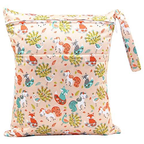karrychen 30x36cm Fashion Print Baby Diaper Storage Bag Reusable Waterproof Nappy Pouch- 2#