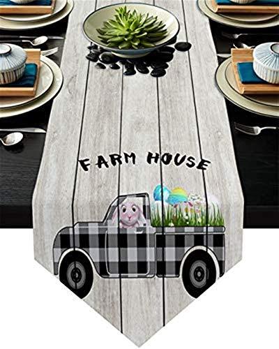 VJRQM Chemin de Table Long Camion de Pâques Oeufs de Lapin Buffalo Plaid rétro Chemin de Table en Toile de Jute 90 Pouces de Long pour Le dîner de fête d'anniversaire de Banquet de Vacances de Ferme