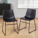 Walker Edison Douglas Urban Industrial Faux Leather Armless Dining Chairs, Set of 2, Black