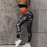 Opprxg Impresión de Letras Medias Deportivas para Mujer Pantalones de Yoga Push-up de Cintura Alta para Mujer Gimnasio Fitness Mallas para Correr Mallas para Correr