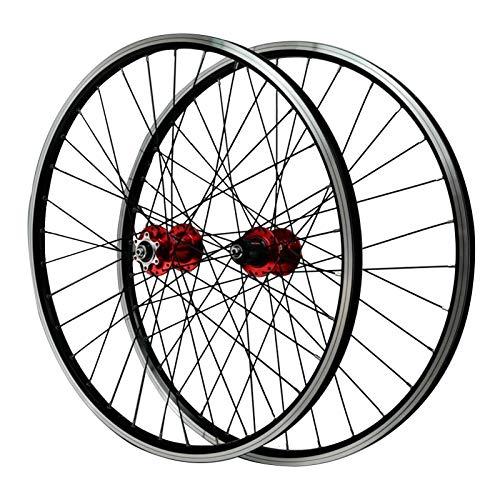 ZNND 26 Pulgadas Ciclismo Wheels,Delantero 2 Trasero 4 Rodamientos Frenos de Disco Rueda de Liberación Rápida de Freno En V Llanta de Aleación Aluminio de Doble Pared (Color : Red hub)