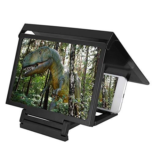 ASHATA Bildschirm Vergrößerung Lupe, 3D Video HD Bildvergrößerung Lupe Premium-Smartphone-Lupe,Tragbar Mobile Phone Screen Projection Magnifier mit Halter für Kinder Geschenk Reisen