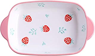Baking Dish Baking Dish With Handles 22.5x13.8x4cm Rectangular Strawberry (Color : Pink, Size : 22.5x13.8x4cm)