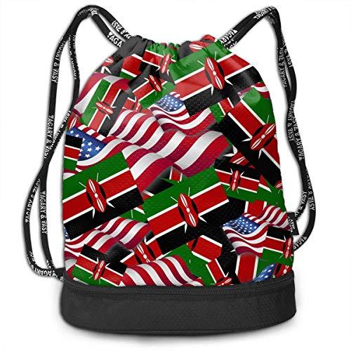 PmseK Kordelzugtasche Rucksack mit Kordelzug Kenia-Flagge mit Amerika-Flagge, Schultertaschen, Reisetasche, Sport, Turnbeutel, Druck – Yoga-Läufer, Daypack mit Reißverschluss und Taschen